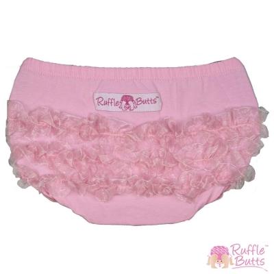 RuffleButts 小女童荷葉邊包屁褲-粉色荷葉邊款