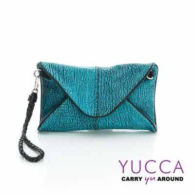 YUCCA - 牛皮新潮紋路手拿斜背包-藍綠色- D0120045