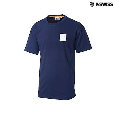 K-Swiss Round Neck T-Shirts印花短袖T恤-男-藍