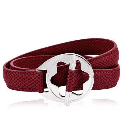 MONT BLANC 萬寶龍 六角星純銀雙環釦手環(紅色)