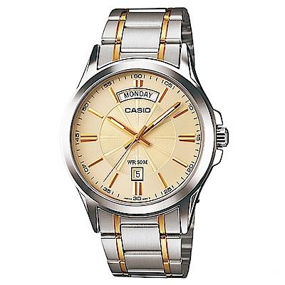 CASIO 時尚成熟型男羅馬字造型腕錶(MTP-1381G-9A)-金面