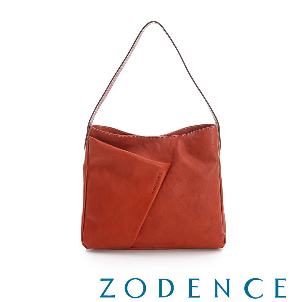 ZODENCE 義大利質鞣革系列不對稱柔軟拉鍊肩背包(大) - 橘紅