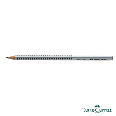 Faber-Castell 紅色系 GRIP 2001 鉛筆 (銀色) HB -12支/盒