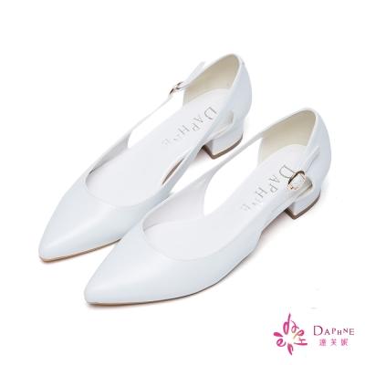 達芙妮DAPHNE-微甜柔美側跟挖空金色扣帶小粗跟尖頭鞋-質感白
