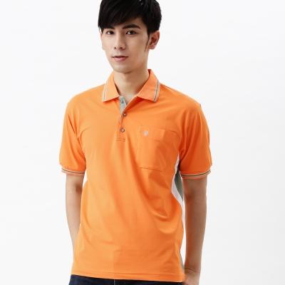 【遊遍天下】MIT台灣製男款吸濕排汗抗UV機能POLO衫S075桔