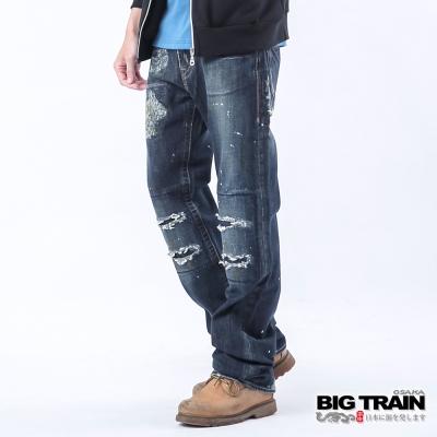BIG TRAIN-割破噴色垮褲-深色