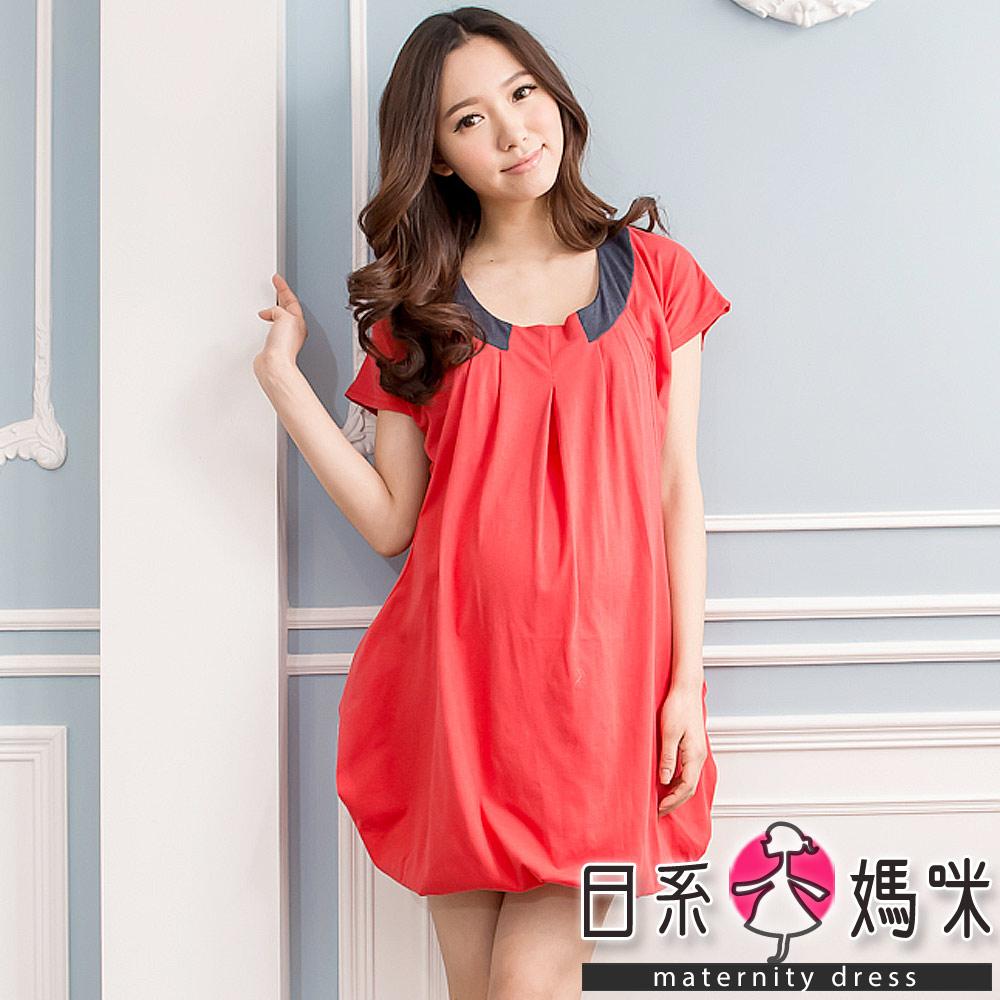 日系小媽咪孕婦裝。台灣製~柔甜美人舒適休閒長版哺乳上衣 (共五色)