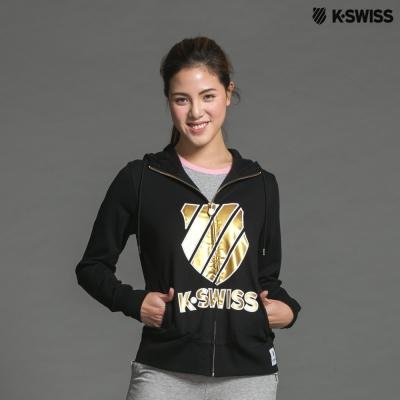 K-Swiss Shield FZ Hoodie連帽外套-女-黑