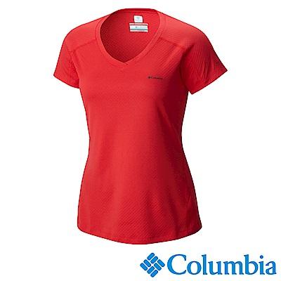 Columbia 哥倫比亞女款-防曬30涼感快排短袖上衣-紅色 UAR69140RD