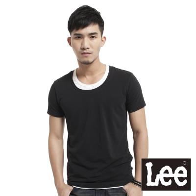 Lee-短袖T恤-假兩件圓領-男款-黑