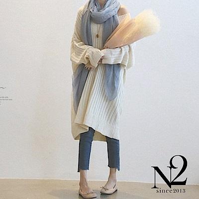 連衣裙 V領復古寬版長袖針織連衣裙(米白) N2