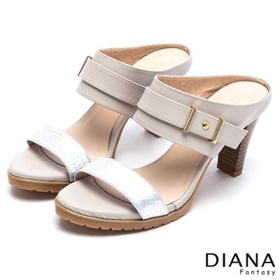 DIANA-都市歐風-亮面壓紋異材質真皮涼跟鞋-米