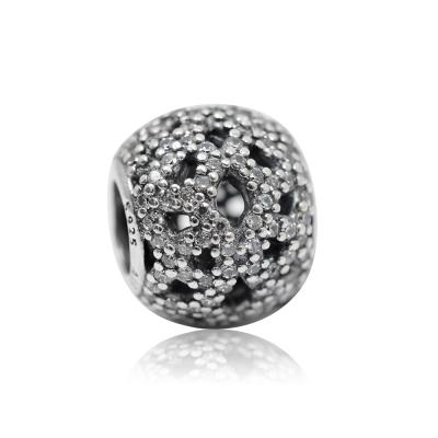 Pandora 潘朵拉 圓形鏤空鑲鋯蕾絲線條 純銀墜飾 串珠