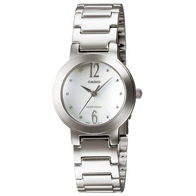CASIO 珍珠母貝指針淑女錶(LTP-1191A-7A)-白色