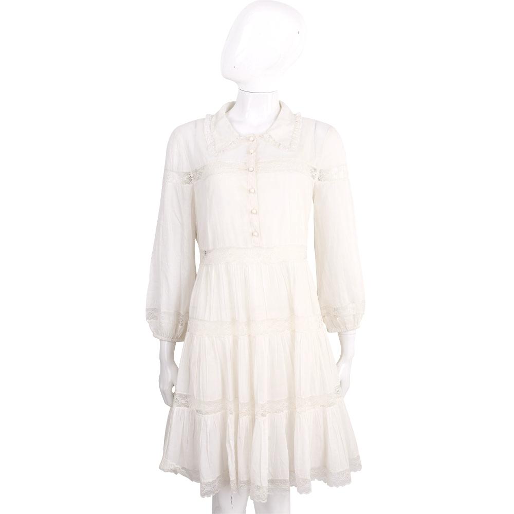 PHILOSOPHY 米白棉料蕾絲襯衫式長袖洋裝