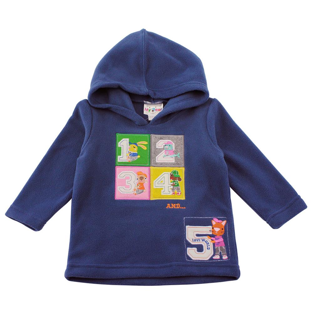 愛的世界 MYBEAR 數字針織刷毛運動連帽上衣/2-3歲-中國製-