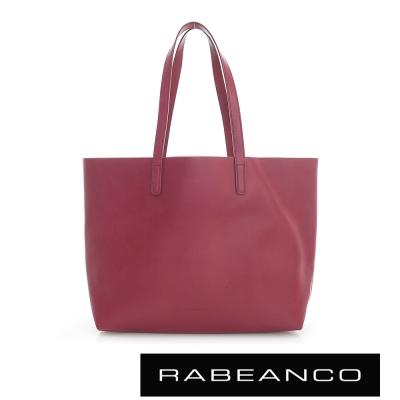 RABEANCO 迷時尚系列牛皮撞色素面肩背包(中) - 酒紅