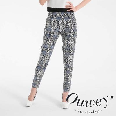 OUWEY歐薇-萬花筒圖紋印花窄管褲