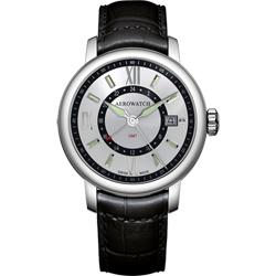 AEROWATCH Renaissance GMT 二地時區腕錶-銀x黑/40mm