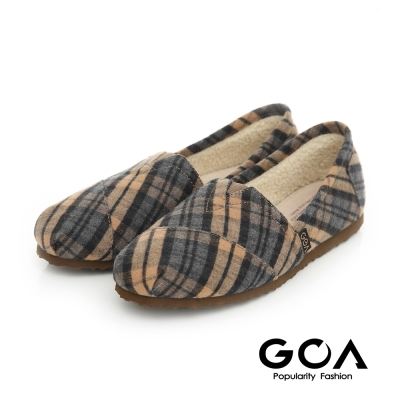 GOA 格紋毛呢內刷毛輕便鞋-米藍格紋