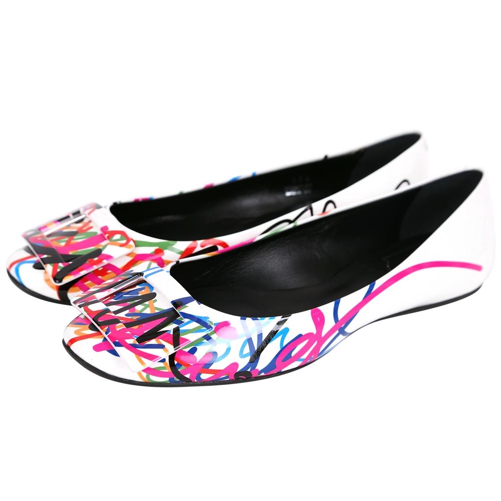 Roger Vivier Gommette Graffi 多彩塗鴉漆皮方框平底鞋