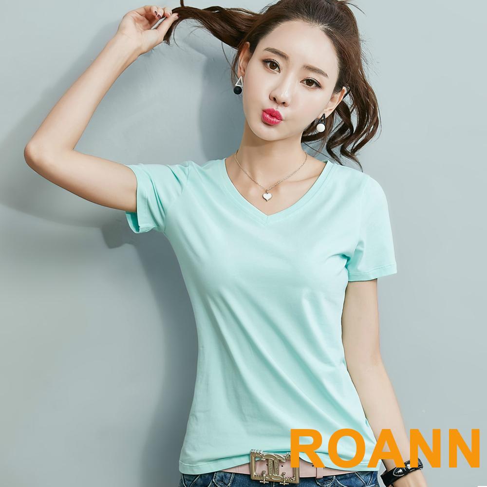 簡約純色V領短袖T恤 (共四色)-ROANN