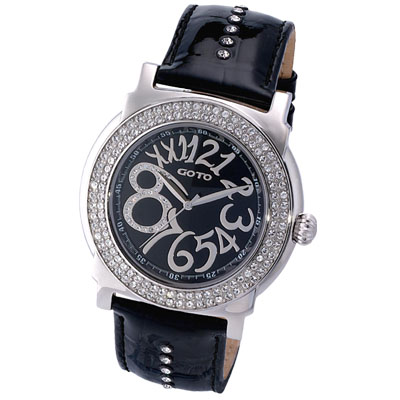 GOTO水漾超美水鑽時尚大數字腕錶-黑/46mm