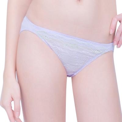 思薇爾 蝶舞戀系列M-XL蕾絲低腰三角褲(淡紫藍)