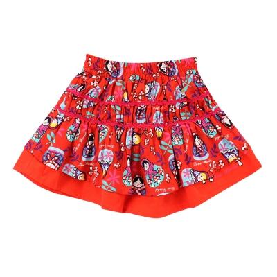 愛的世界 純棉鬆緊帶俄羅斯娃娃短裙 6-8歲
