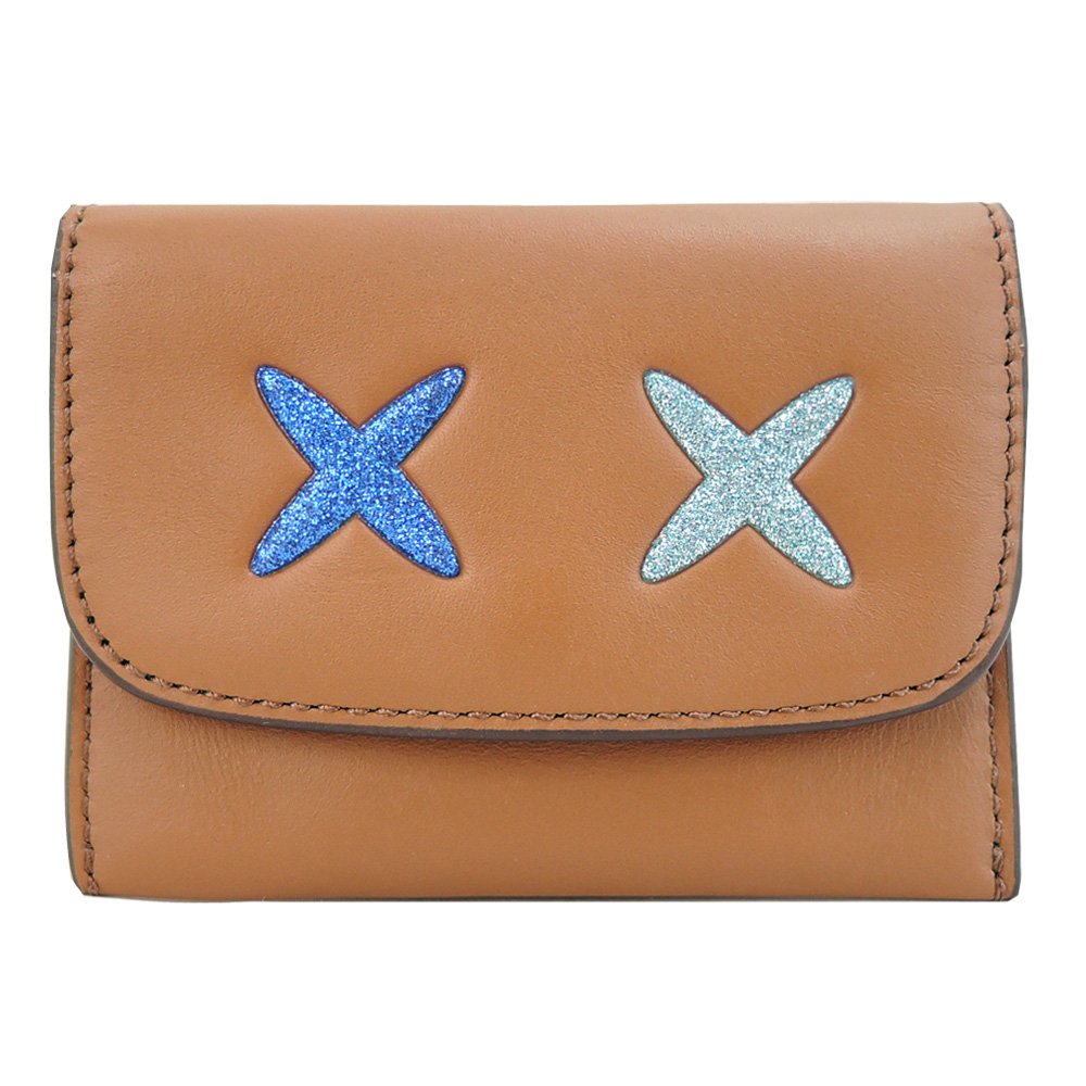 COACH X_X表情皮革翻蓋名片卡夾(棕)