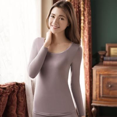 華歌爾 NEW EKS 升級發熱衣 M-LL圓領長袖款(氣質紫)-保暖