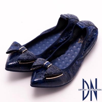 DN 名媛時尚 全真皮金扣蝴蝶結尖頭包鞋 藍