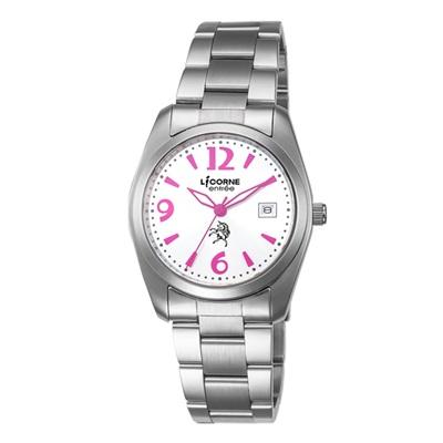 LICORNE 恩萃 Entree  簡約時尚設計都市腕錶-桃紅x銀白/36mm