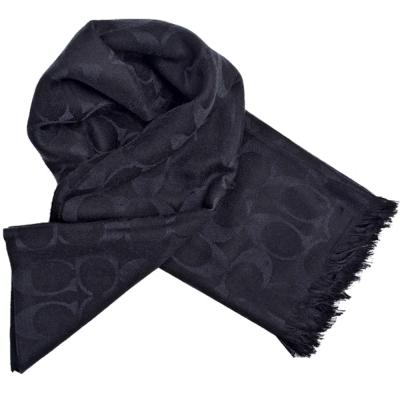 COACH 大C Logo羊毛混絲流蘇寬版披肩式圍巾-黑