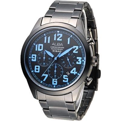 ALBA 個性潮流三眼碼錶計時男錶(AT3529X1)-鍍黑x藍刻/43mm