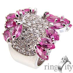 RingCity 粉紅晶鑽色流線造型戒