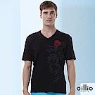 歐洲貴族oillio V領T恤 帥勁獨角獸 休閒穿著 黑色