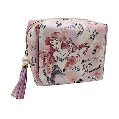 KAMIO  迪士尼公主花繪彩妝系列珠光PU皮革迷你化妝包(小美人魚)
