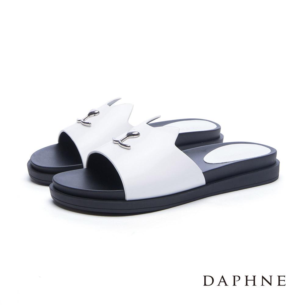 達芙妮DAPHNE拖鞋-尖耳貓造型厚底涼拖鞋-白