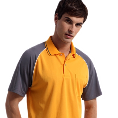 【Sunrise】88122明媚橘搭灰袖★短袖POLO男版襯衫