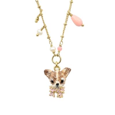 Les Nereides 吉娃娃系列粉紅蝴蝶結珍珠項鍊