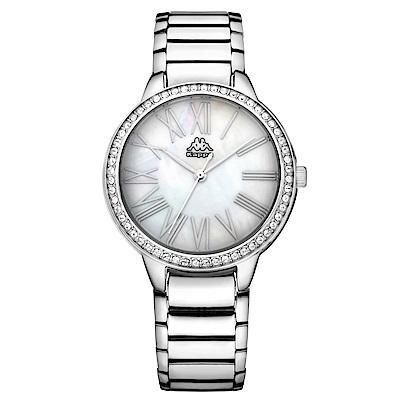 Kappa 閃耀羅馬不鏽鋼時尚腕錶-白x銀/35mm