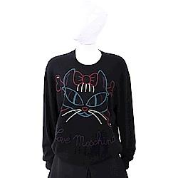 LOVE MOSCHINO 多彩刺繡貓咪圖騰黑色針織羊毛衫