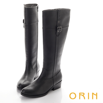 ORIN-經典簡約-率性騎士皮帶釦環長靴-黑色