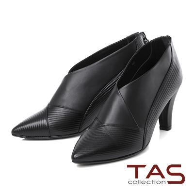 TAS 交叉條紋V口尖頭高跟踝靴-質感黑