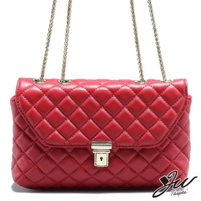 JW-真皮名流共和國時尚菱格鏈袋包-共二色