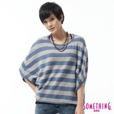 SOMETHING條紋斗篷寬版線衫-女款-藍色