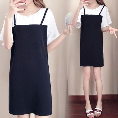 中大尺碼 假兩件荷葉袖白色上衣拼接黑色細肩吊帶裙XL~4L-Ballet Dolly