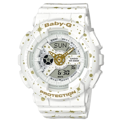 BABY-G 閃耀星空噴濺概念設計休閒錶( BA-110ST-7A)白/43.3mm