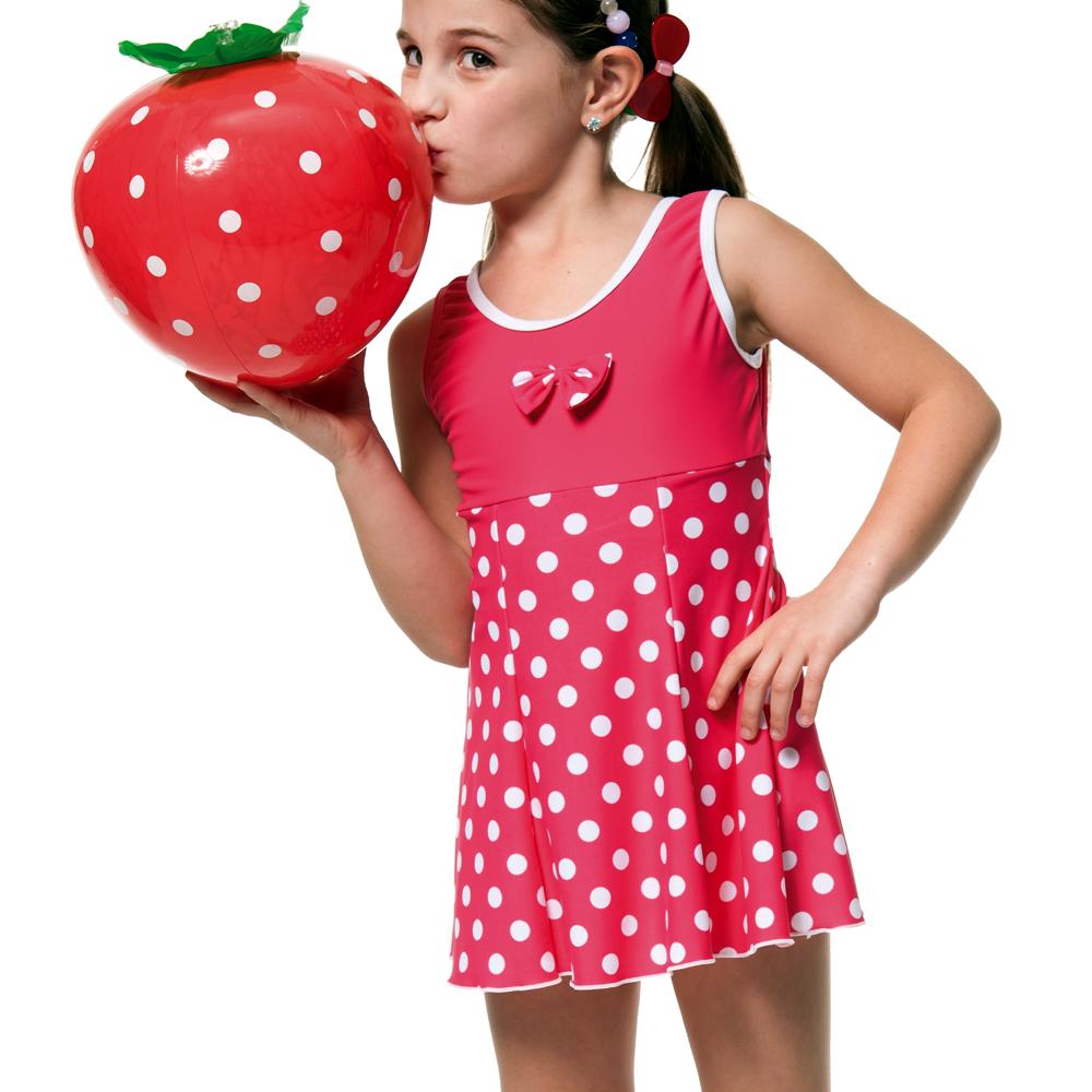 沙兒斯兒童泳衣白圓點連身裙式女童泳裝